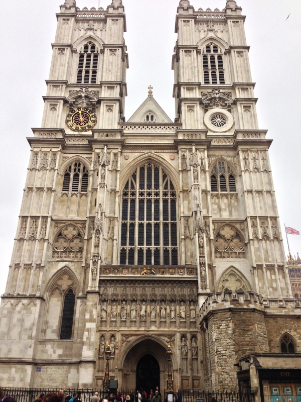 The impressive front façade of Westminster Abbey.