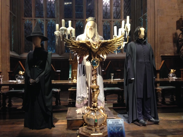 McGonagall, Dumbledore, and Snape in the Great Hall.