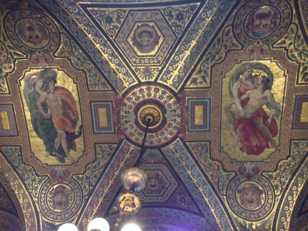 The artwork on the ceiling in the main foyer was all made up of scenes from various operas and ballets.