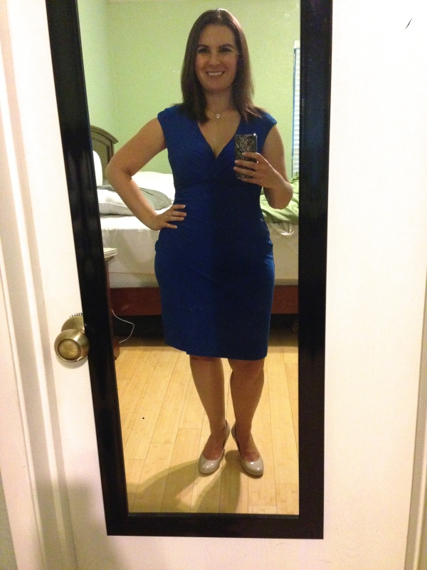 Day 14: blue side-gathered dress from Ralph Lauren. One of my favorite audition dresses.