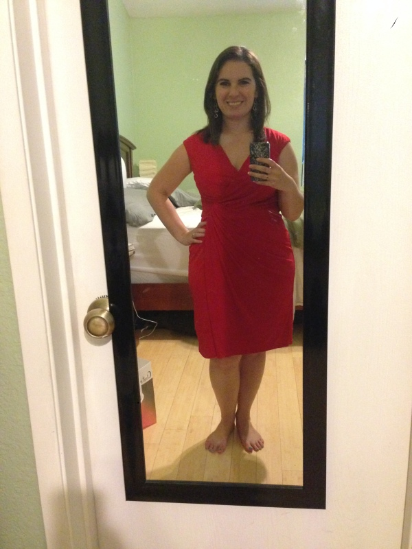 Day 22: red side-gathered dress from Maggy Boutique, via ideeli. Another one of my favorite audition dresses, but it's great for work too!