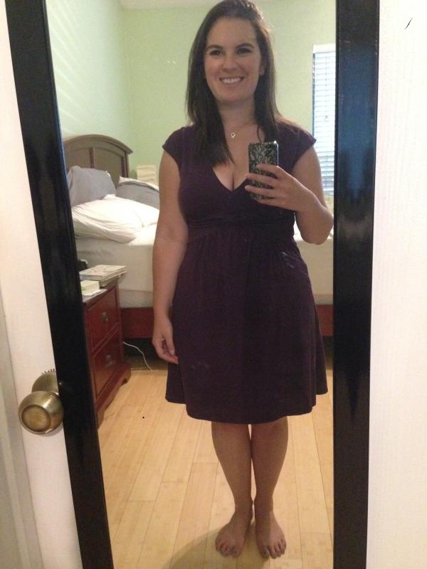Day 2: purple v-neck dress from Ann Taylor Loft.