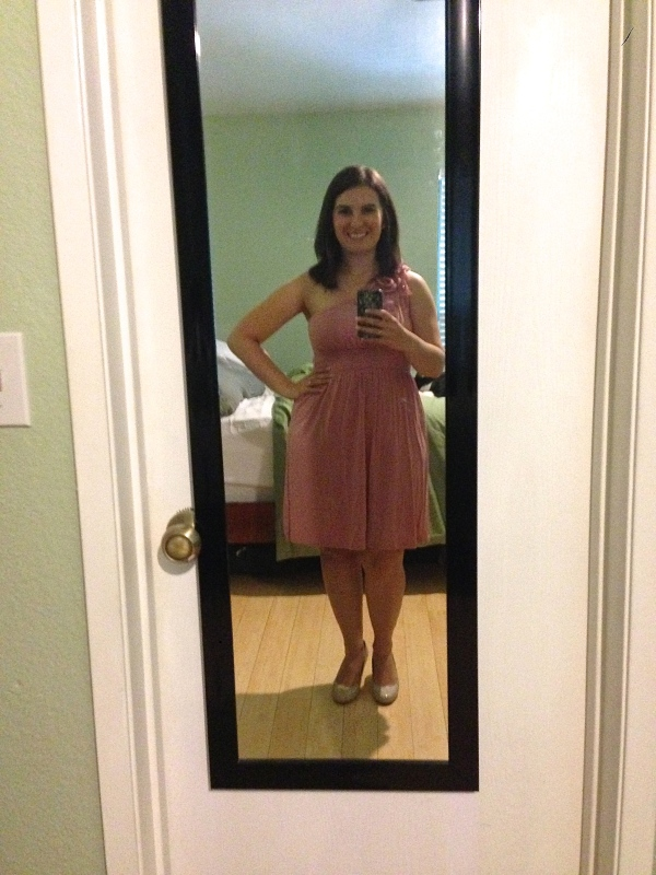 Day 12: pink one-shoulder dress from ModCloth, for our friends' wedding!