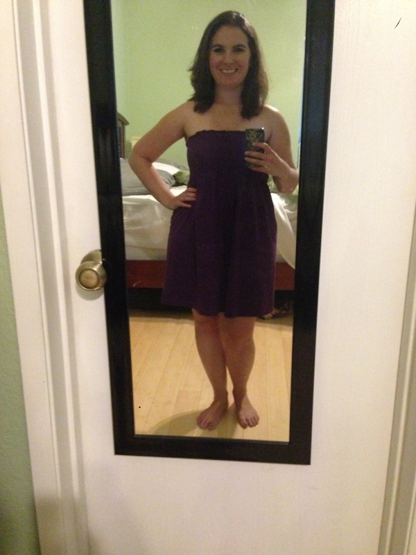 Day 18: purple strapless dress from Old Navy, for my Friday off.