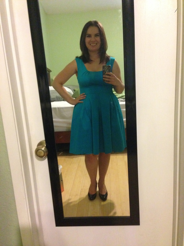 Day 19: turquoise pleated dress from Calvin Klein, via Crossroads Trading Company. Ready to audition!