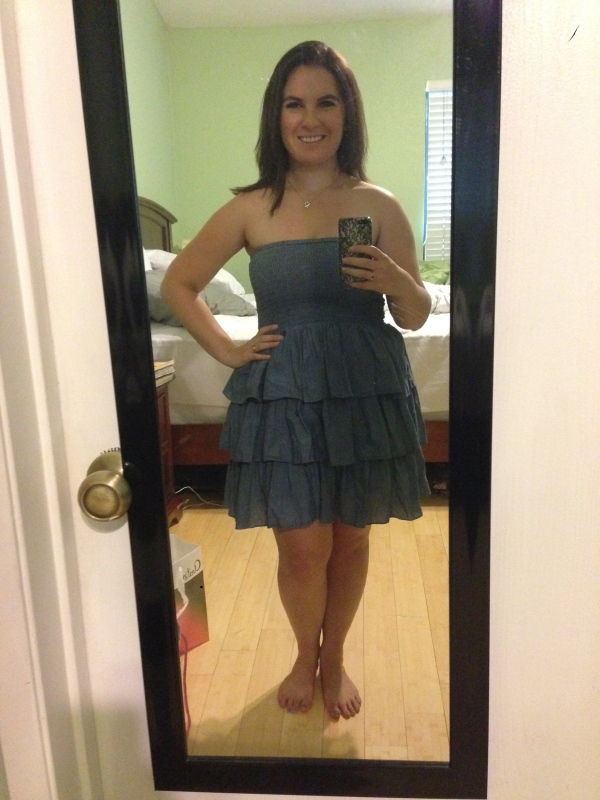 Day 25: strapless ruffled layers from Old Navy. Sometimes it's just simply too hot for straps.