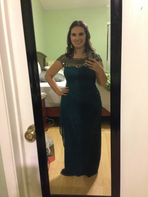 "Day 26: gorgeous forest green bejeweled gown from Macy's, for opening night of ""The Prince of Pilsen""!"
