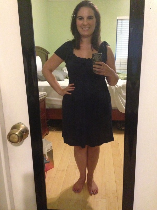 Day 28: navy blue rosette dress from Macy's. At least I think it's from Macy's... I bought it over three years ago for our rehearsal dinner!
