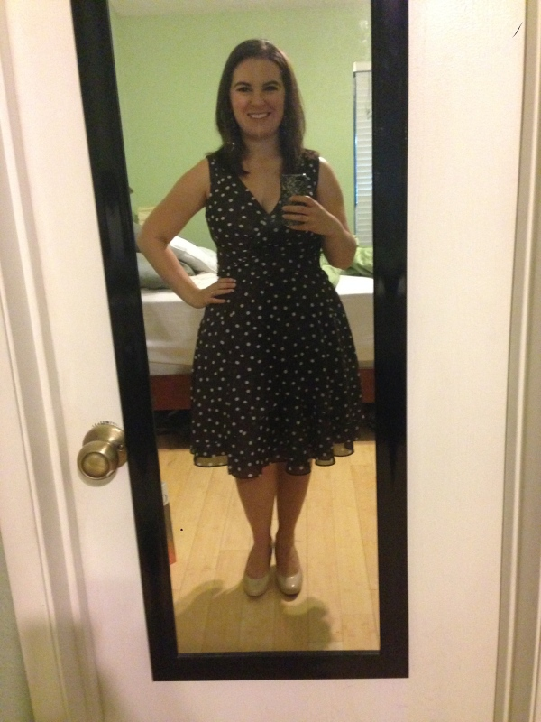 Day 31: brown polka-dot dress from White House Black Market.