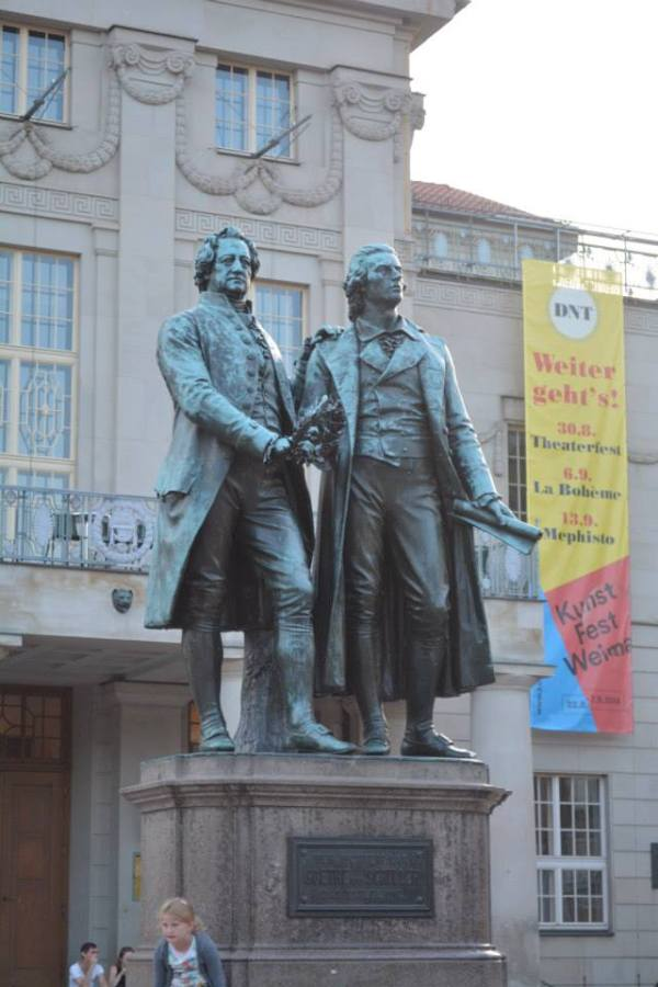 The statue of Goethe and Schiller outside the Deutsche National Theatre.