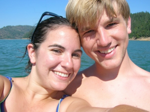 T and me, all the way back in 2006, happily at the end of our long-distance relationship.