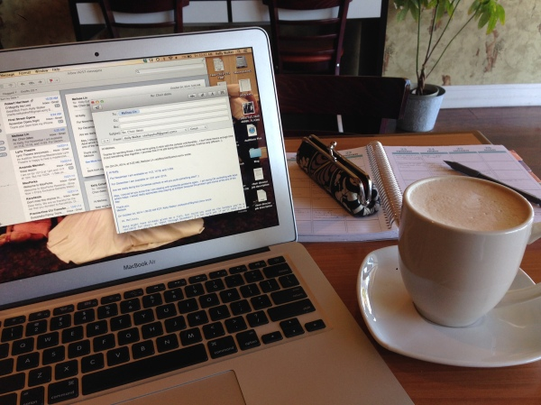 My vanilla chai latte helping me get through a morning of church choir organizing, blog writing, and opera planning.