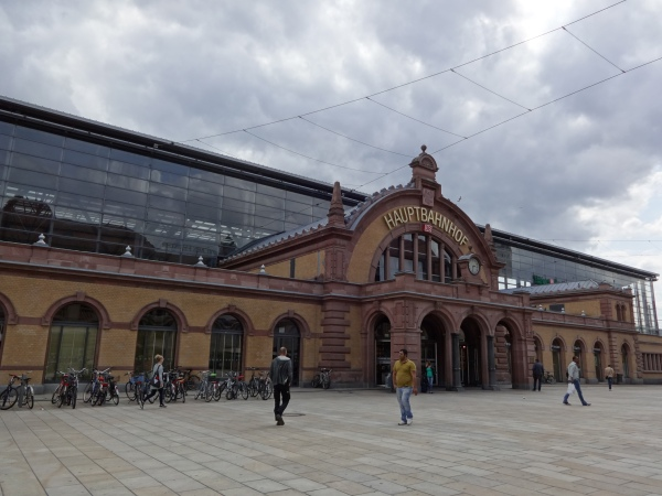 The Hauptbahnhof (main train station) in Erfurt, Germany.
